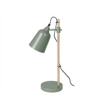 Leitmotiv Tafellamp Wood-Like groen metaal ø12x14x48,5cm