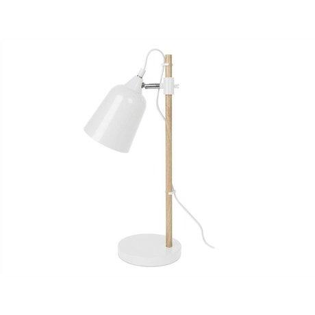 Leitmotiv Lampe de table en bois-métal blanc Comme ø12x14x48,5cm
