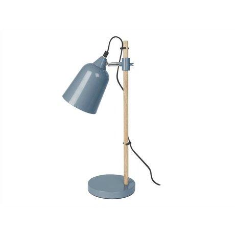 Leitmotiv Tischlampe Holz-Like Denim blau Metall ø12x14x48,5cm