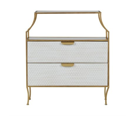 BePureHome Cast Glamm with Mirrors White Gold Metal 90x80x38cm