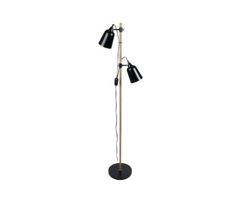 Leitmotiv Floor lamp Wood-like 2 black metal Ø15x14x149cm
