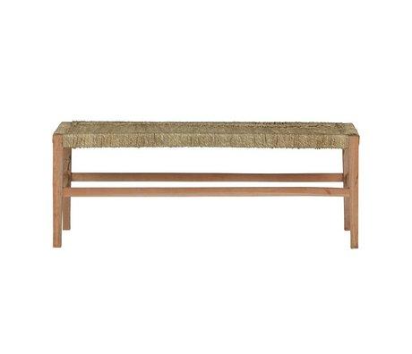 BePureHome Banc Zen bois brun naturel avec 46x123x40cm de corde tressée