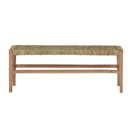 BePureHome Bench Zen natural brown wood with woven rope 46x123x40cm