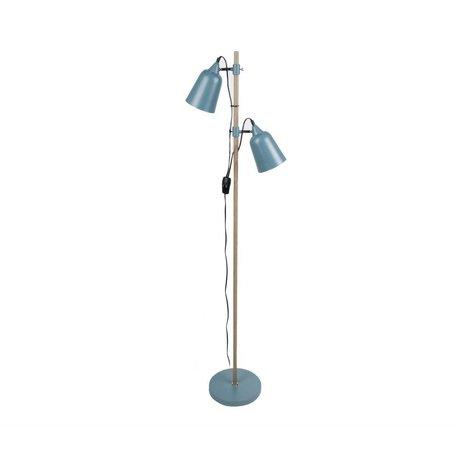 Leitmotiv Vloerlamp Wood-Like 2 blauw metaal ø15x14x149cm
