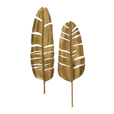 BePureHome Feathers antique brass gold metal set of 2