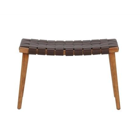BePureHome banc icône cuir brun foncé recyclé 42,5x68,5x40,5cm bois