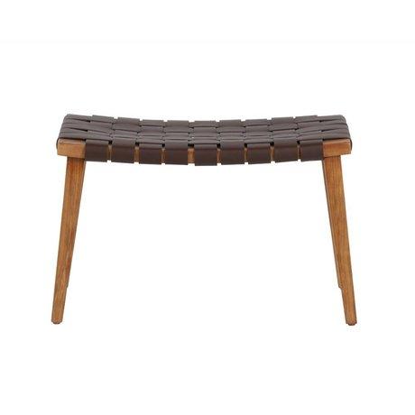 BePureHome Icon Bank dunkelbraunes Leder recyceltes Holz 42,5x68,5x40,5cm