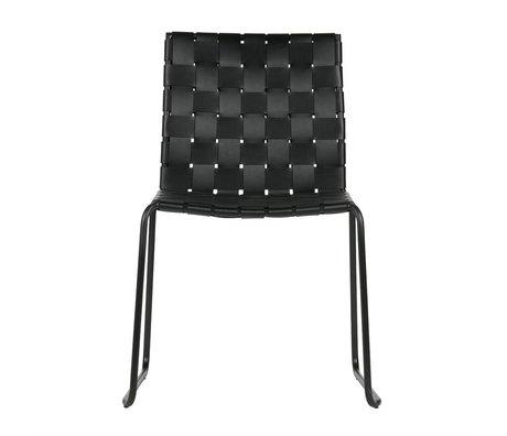 BePureHome Chaise de salle Icône cuir noir 81x58x57cm métal recyclé