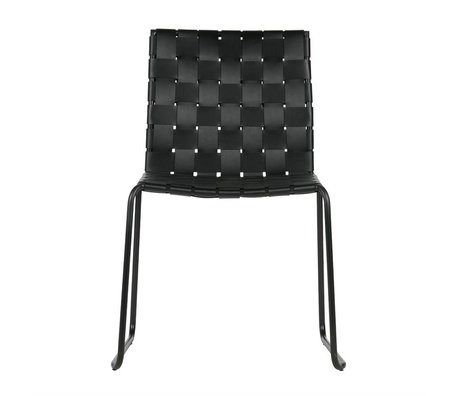 BePureHome Dining chair Icon black recycled leather metal 81x58x57cm