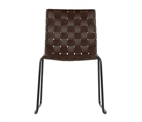 BePureHome Dining chair Icon dark brown recycled leather metal 81x58x57cm