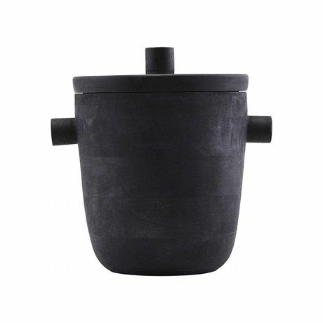 Housedoctor Wijnkoeler Ijsemmer zwart mango boomhout Ø20x22cm