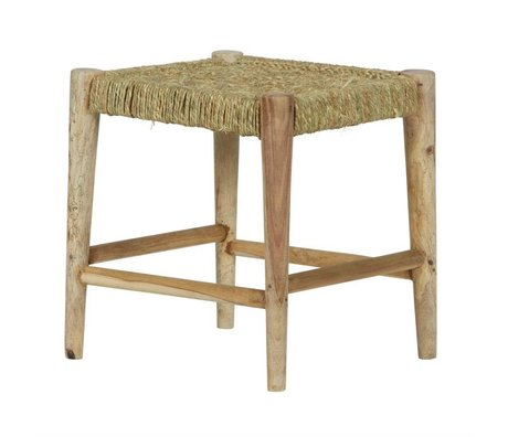 BePureHome Stool Wicker natural brown wood woven rope 47x42x42cm