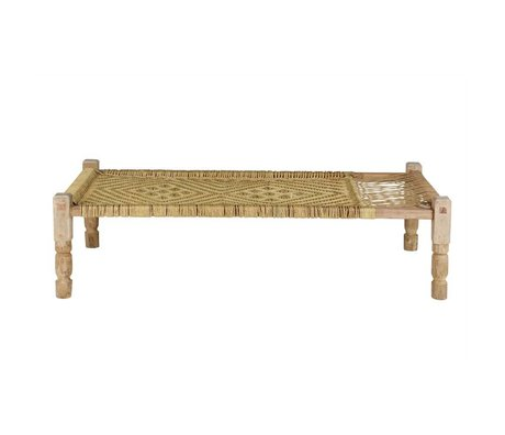 BePureHome Daybed Zen natural brown wood with woven rope 50x180x92cm
