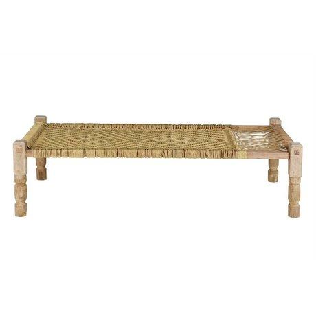 BePureHome Zen Liege natürliches braunes Holz mit gewebten Seil 50x180x92cm