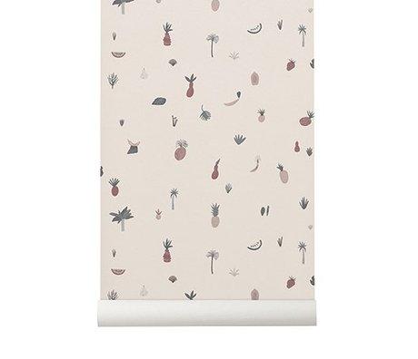Ferm Living Behang Fruiticana roze 53x1000cm