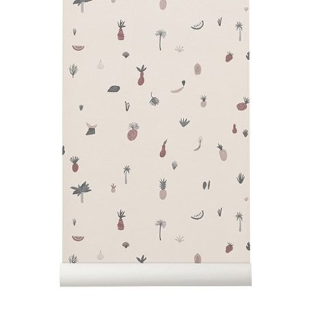 Ferm Living Fond d'écran Fruiticana 53x1000cm rose - copie