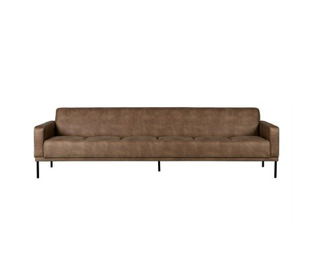 BePureHome Sofa Revolution 3 seater cream brown leather 76x276x89cm