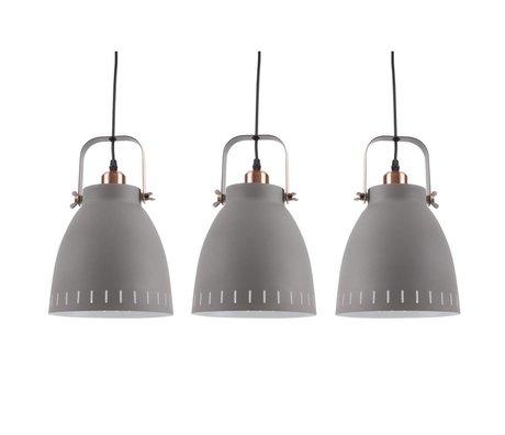Leitmotiv Lampe suspension se mêlent Ø16,5x72x55cm métallique gris Triplet