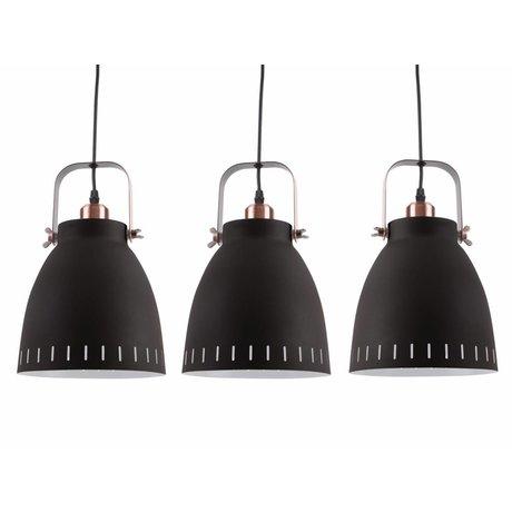 Leitmotiv Mingle Triplet lumière pendante métal noir Ø16,5x72x55cm