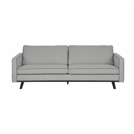 BePureHome 3 places bois polyester gris rebelle 230x86x85cm