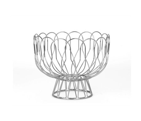 pt, Fruit bowl silver metal Ø26x28cm