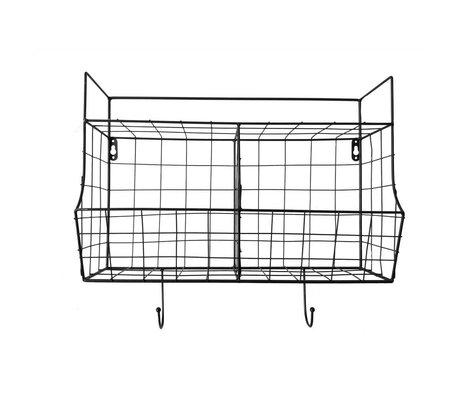 pt, Etagère de cuisine en métal noir 24x15,5x46,5cm