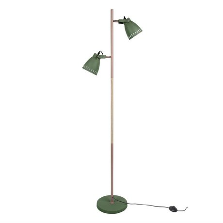 Leitmotiv Floor lamp mingle wood green metal wood Ø28x152cm