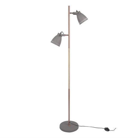 Leitmotiv vloerlamp mingle wood grijs metaal hout Ø28x152cm