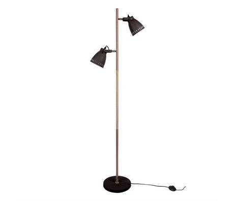 Leitmotiv Lampadaire bois de bois en métal noir se mêlent Ø28x152cm