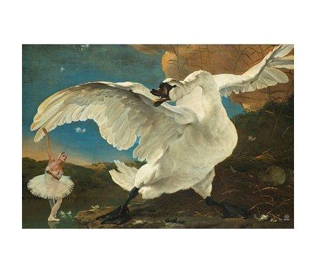 Arty Shock Schilderij jan asselijn - de bedreigde zwaan L multicolor plexiglas 100x150cm