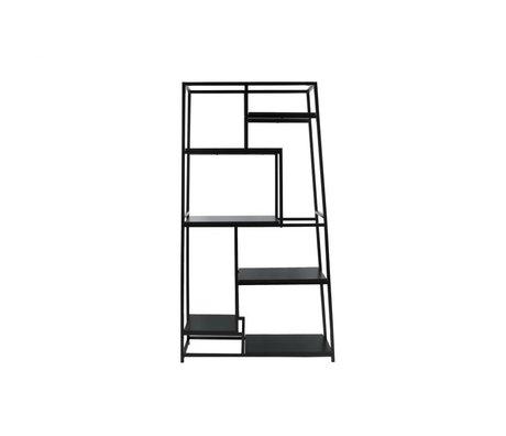 Leitmotiv Bücherregal aus schwarzem Stahl 178x102x33cm