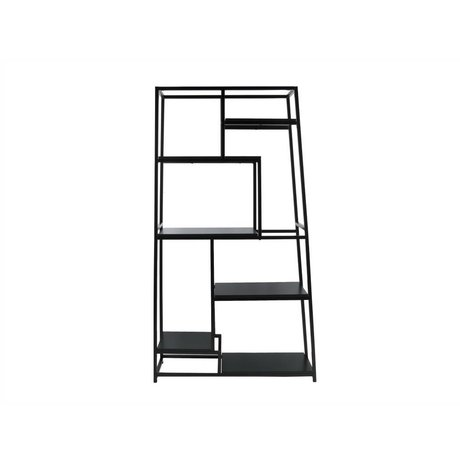 Leitmotiv Bookcase black steel 178x102x33cm