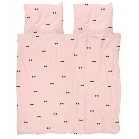 Snurk Beddengoed Duvet cover Bow Tie Pink 260x200 / 220 incl 2 pillowcases 60x70cm