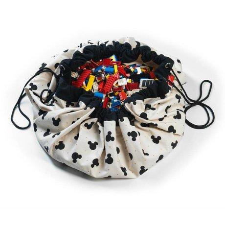 Play & Go Opbergzak/speelkleed Mickey Black multicolour katoen Ø140cm
