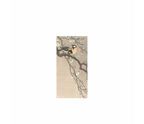 IXXI Décoration murale Oiseaux sur un banc de cerise papier S 60x120cm multicouleur