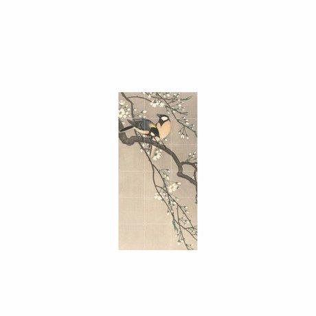IXXI Wanddekoration Vögel auf einer Bank Kirsche Mehrfarbenpapier S 60x120cm