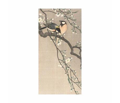 IXXI Wall Decoration Birds on a Cherry Bench Multicolour Paper L 100x200cm