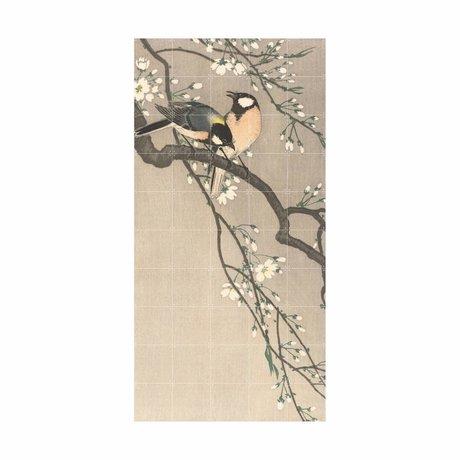IXXI Wanddekoration Vögel auf einer Bank Kirsche Mehrfarbenpapier L 100x200cm