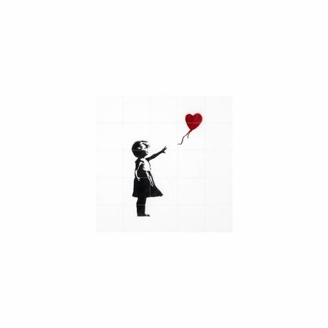IXXI Wanddekoration Ballon-Mädchen mit bunten Papier-S 100x100cm