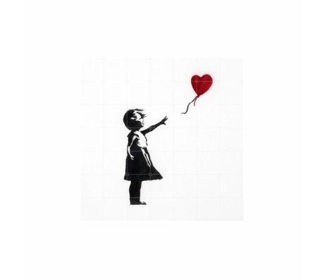 IXXI Wanddekoration Ballon-Mädchen mit bunten Papier-L 140x140cm