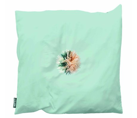 Snurk Beddengoed Coussin Pom Pom coton vert 50x50cm multicouleur
