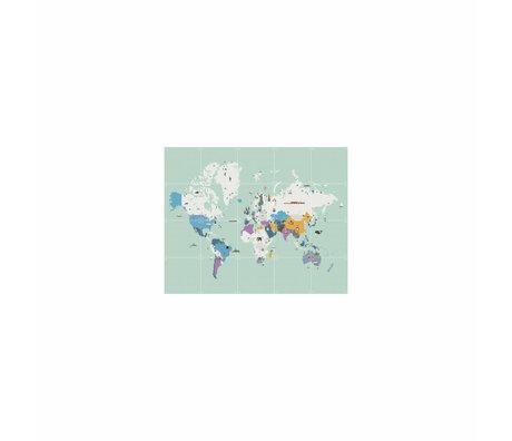 IXXI Wanddecoratie Around the world multicolour papier S 100x80cm