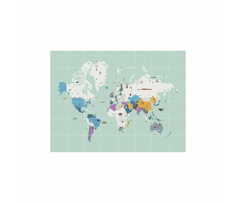 IXXI Wanddecoratie Around the world multicolour papier L 160x120cm