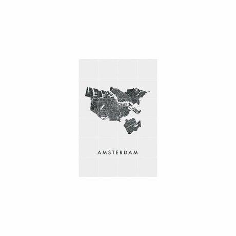 IXXI Wanddecoratie Amsterdam city map zwart wit papier S 80x120cm