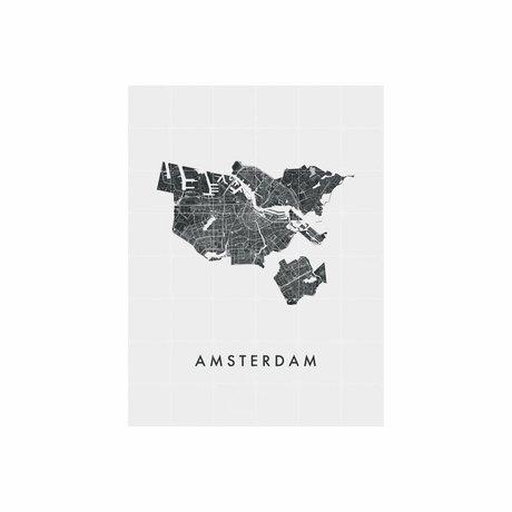 IXXI Wanddecoratie Amsterdam city map zwart wit papier L 120x160cm