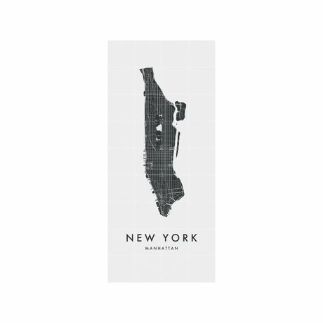 IXXI Wanddecoratie New York (Manhattan) city map zwart wit papier L 80x180cm