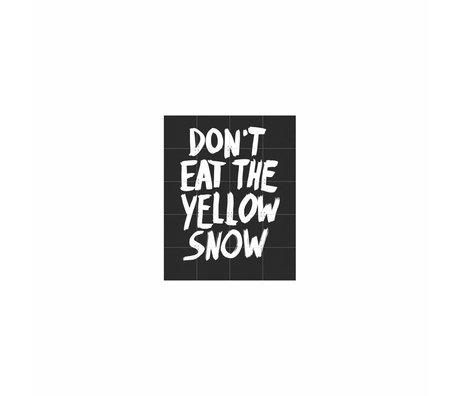 IXXI Wanddecoratie Don't eat the yellow snow zwart wit papier S 80x100cm