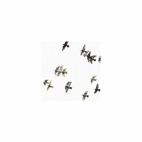IXXI Wanddecoratie Birds zwart wit papier S 100x100cm