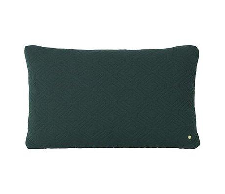 Ferm Living Kissen Quilt Ruhe dunkelgrüne Wolle 80x50cm