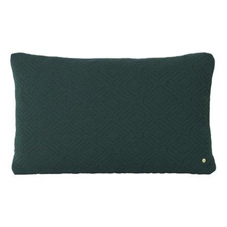 Ferm Living Cushion Quilt Rust dark green wool 80x50cm